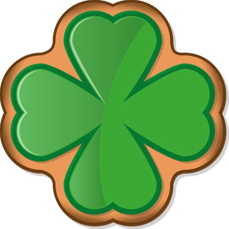 Ginger cookie with shamrock glaze. Symbol of St. Patricks Day. Vector illustration EPS10 on white background