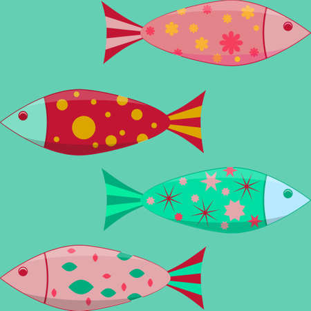 Set of the simple flat fishes decorated by patterns. Illustration