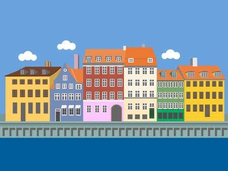 Vue panoramique du port de Nyhavn, Copenhague, Danemark. Illustration vectorielle