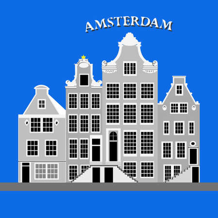 Old Typical Netherlands houses. Amsterdam, Netherlands Vector illustration Illustration