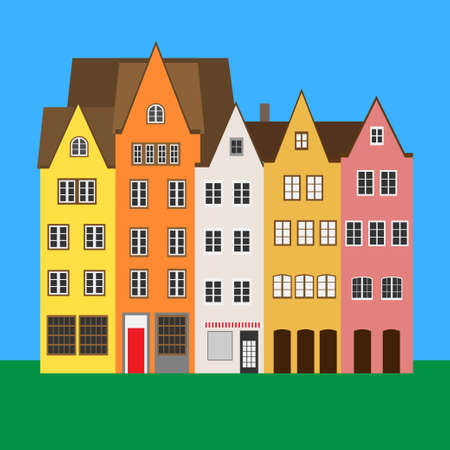 Colorful houses in Old Town. Cologne, Germany. Vector illustration