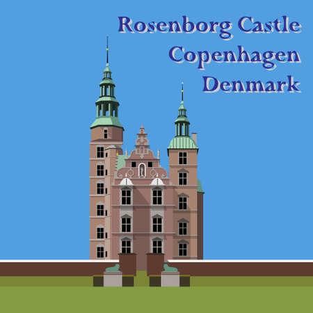 Rosenborg Castle, Copenhagen, Denmark Vector illustration EPS10