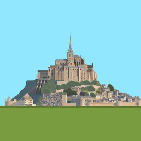 bretagne: Mont Saint-Michel - tidal island, town and abbey. France. Vector illustration EPS10 Illustration