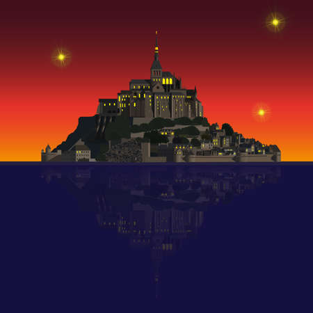 bretagne: Mont Saint-Michel Abbey and its reflection in the Couesnon river. Vector illustration EPS10