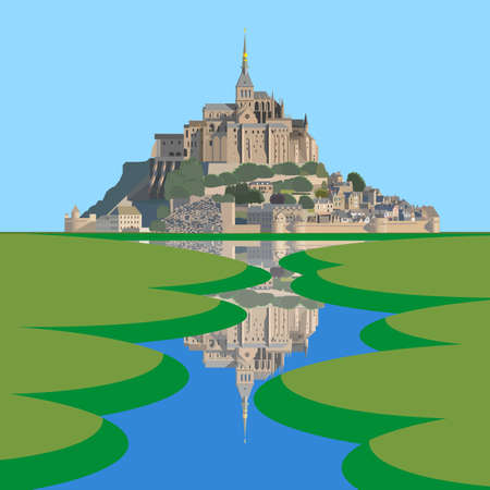 Mont Saint-Michel Abbey and its reflection in the Couesnon river. Vector illustration EPS10
