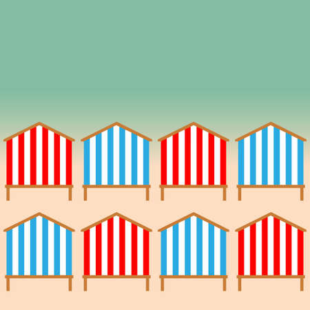 promenade: Beach Huts on the seacoast as part of infinite border or frame. Vector illustration EPS10