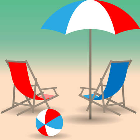 seacoast: Two beach chairs, umbrella and bright ball on the sandy beach. Vector illustration EPS10