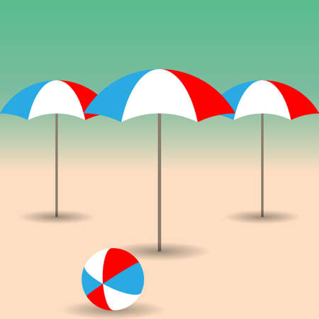 seacoast: Beach umbrellas and bright ball on the sandy beach. Vector illustration EPS10