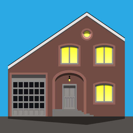immaculate: Immaculate, beautiful and strict, brick home with car garage. Vector illustration EPS10 Illustration