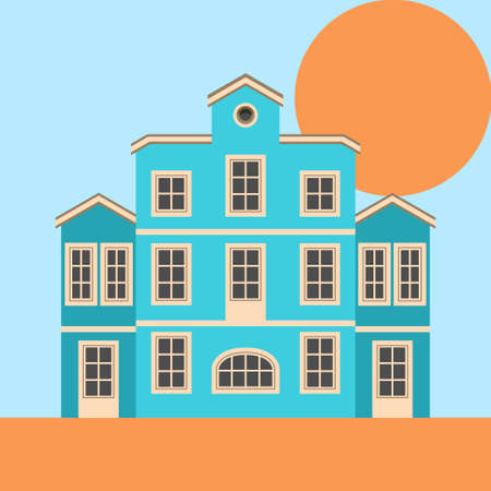 Immaculate, beautiful residential house in old style. Vector illustration