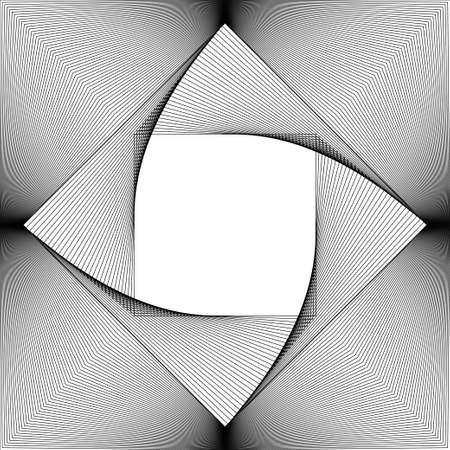 Background from the squares twirled in a spiral. Vector illustration