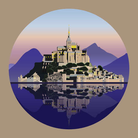 Mountain landscape with castle and lake. Vector illustration EPS10