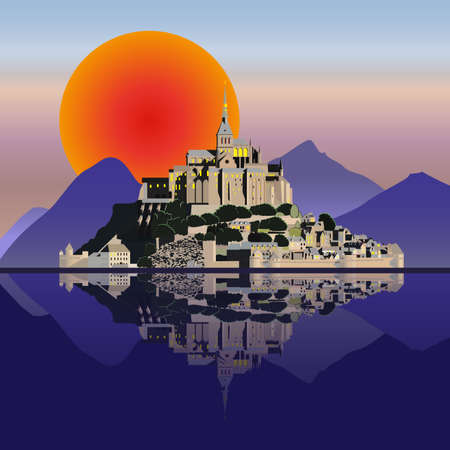 Mountain landscape with castle and lake . Vector illustration EPS10