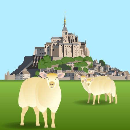 モン サン ミシェル修道院と牧草地の羊。ベクトル図 EPS10