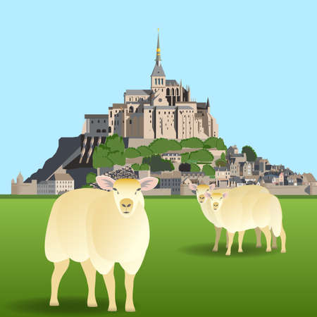 Mont Saint-Michel Abbey and sheep on a pasture. Vector illustration EPS10 Illustration