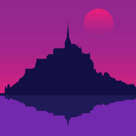 Silhouette of the Mont Saint-Michel Abbey. Vector illustration EPS10 Illustration