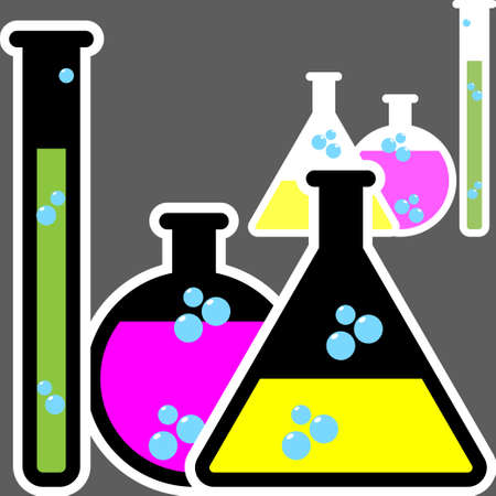 Laboratory glassware or beaker. Vector set of glass flasks, chemistry bottles and test tubes Illustration