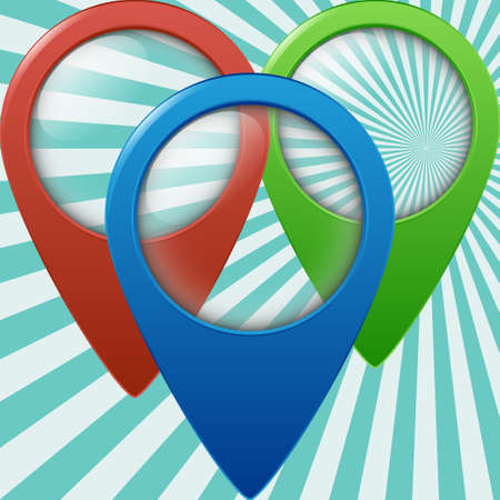 geolocation: Three color geolocation signs. Geo tags set for geolocation and navigation. Vector illustration EPS10 Illustration