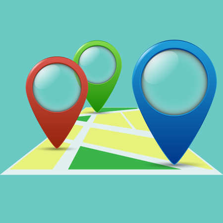 Three color geolocation signs on the map. Geo tags set for geolocation and navigation. Vector illustration EPS10