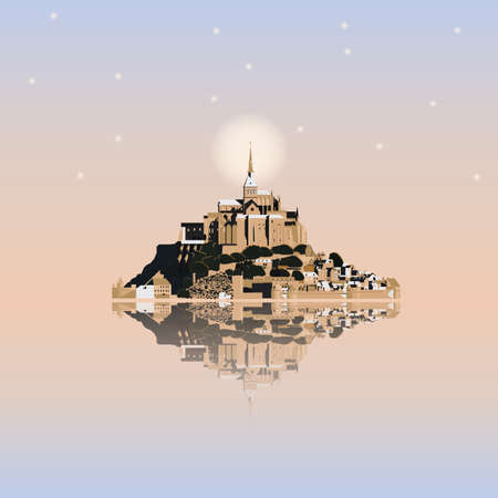 bretagne: Mont Saint-Michel Abbey at sunset, France. Tidal island, town and abbey. Vector illustration EPS10
