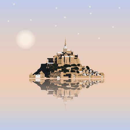 夕暮れ時、フランス モン ・ サン ・ ミシェル修道院。潮島、町および修道院。ベクトル図 EPS10