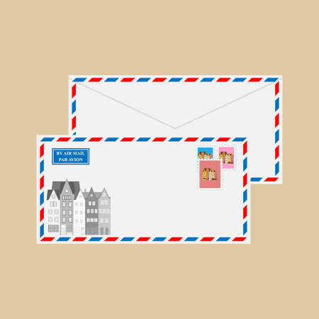 Air mail envelope with Old Town Cologne, Germany stamps and postmarks. Illustration