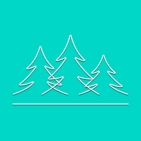 Fir forest drawing by simple line. Firtrees as merry Christmas tree pattern, vector illustration. Illustration