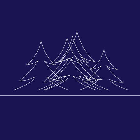 Fir forest drawing by simple line. Firtrees as merry christmas tree pattern. Vector illustration