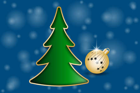 Christmas greeting card. Fir Tree and Golden Christmas ball. Vector illustration EPS10