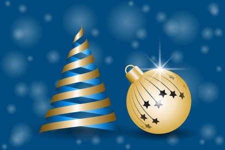 Cartolina d'auguri di Natale. Albero di abete dorato della palla e dei nastri di natale. Illustrazione vettoriale EPS10 Archivio Fotografico - 89685858