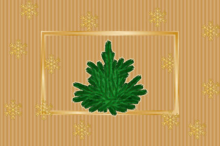 Winter background with snowflakes pattern, golden frame and fir-tree. Vector illustration EPS10 for Christmas or New Year card