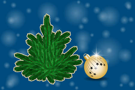 Winter greeting card with christmas ball and fir-tree. Vector illustration EPS10