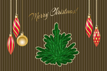 Winter greeting card with christmas decorations and fir-tree. Vector illustration EPS10  イラスト・ベクター素材