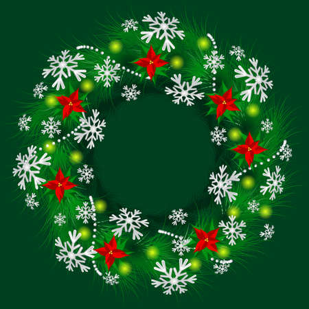 Christmas wreath decorated Christmas star flowers, snowflakes and lights. Vector illustration EPS10. 免版税图像 - 91056045