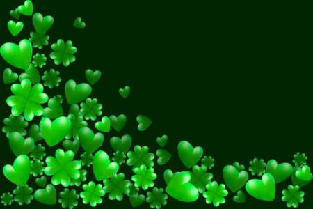 セント・パトリックの日の国境緑のハート、クローバー、テキスト用のスペース。聖パトリックの日グリーティングカードのためのベクトルイラス