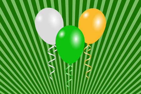 St Patricks Day Greeting card. Green, white and orange balloons which is the color of the Irish flag on the striped background. Illustration