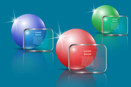 Three glossy spheres and transparent banners for text. Vector illustration  for infographic template, presentations, brochures, flyer, banner, website