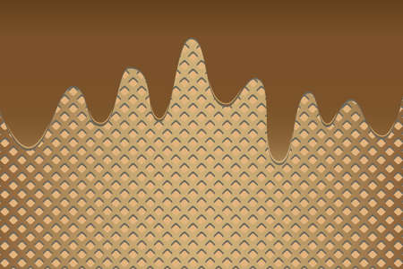 Wafer background with melted chocolate vector illustration.