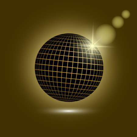 Black and golden disco ball. Mirror sphere on dark background. Vector illustration EPS10