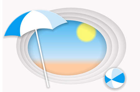 Summer holiday concept. Beach umbrella and bright ball on the sandy beach. Vector illustration EPS10