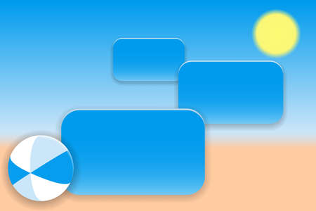 Summer holiday concept. Bright ball on the sandy beach and banners for text. Vector illustration EPS10