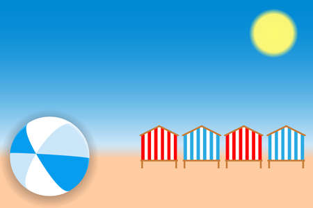 Summer holiday concept. Bright ball and beach huts on the seacoast. Vector illustration EPS10