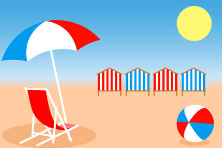 Summer holiday concept. Beach Umbrella, Chair, Bright ball and Beach Huts on the seacoast. Vector illustration EPS10