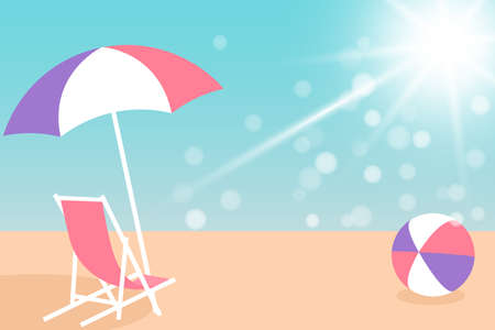 Summer holiday concept. Umbrella, Chair and Bright ball on the seacoast. Vector illustration EPS10
