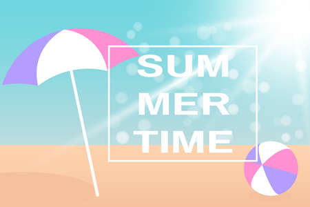 Summer holiday concept. Beach Umbrella and Bright ball on the seacoast. Vector illustration EPS10