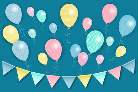 Multi-colored bunting flags and helium balloons. Design for a card, congratulations, invitations