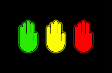 Simple images of a hand palm. Set of the human hand palms