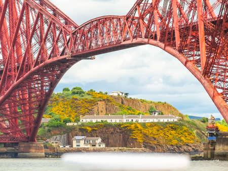 Old Forth Bridge and Firth of Forth. Edinburgh, Scotland, UK
