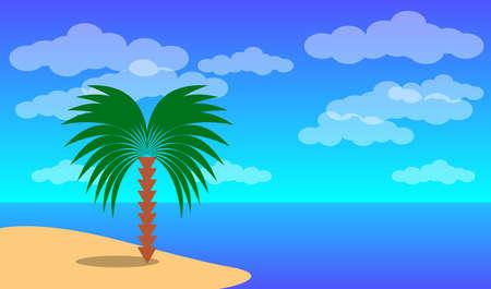 Sea landscape. Blue sea and palm tree ashore. Vector EPS10