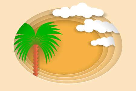 Desert landscape with palms and sand desert. Vector EPS10. Paper layers as desert design